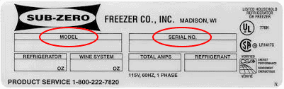 serial number for sub-zero refrigeator water filter